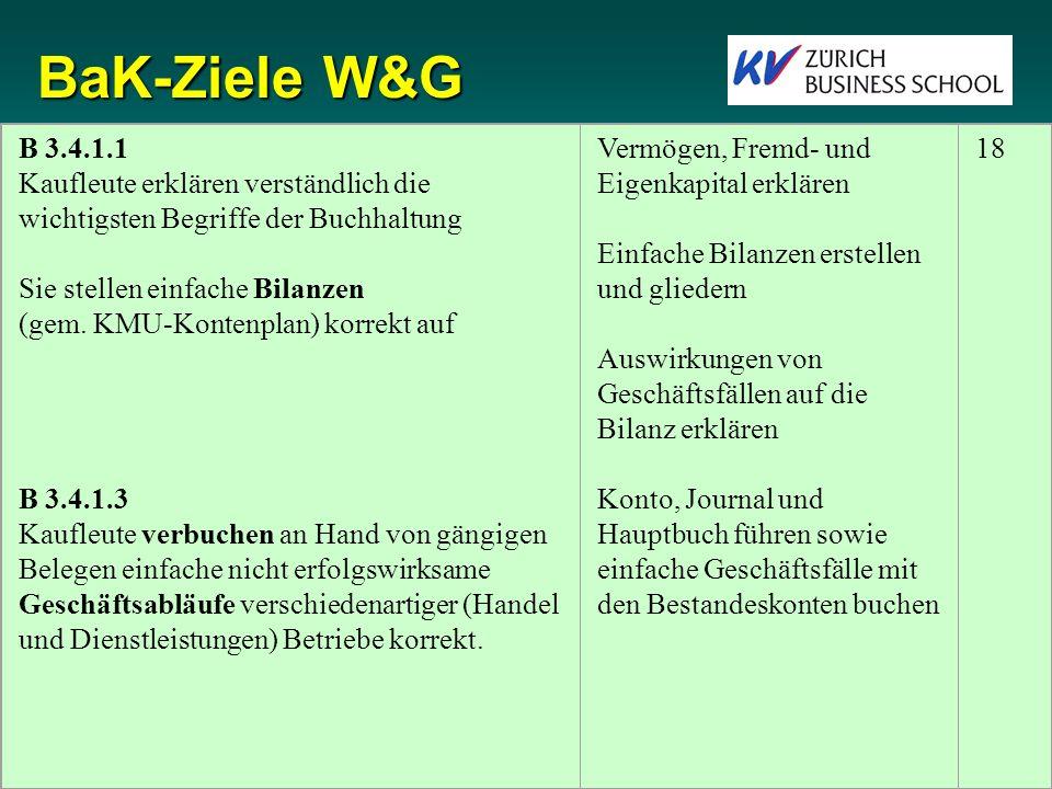 BaK-Ziele W&G B 3.4.1.1. Kaufleute erklären verständlich die wichtigsten Begriffe der Buchhaltung.