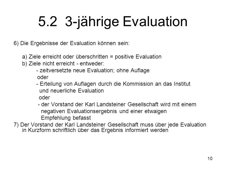 5.2 3-jährige Evaluation 6) Die Ergebnisse der Evaluation können sein: