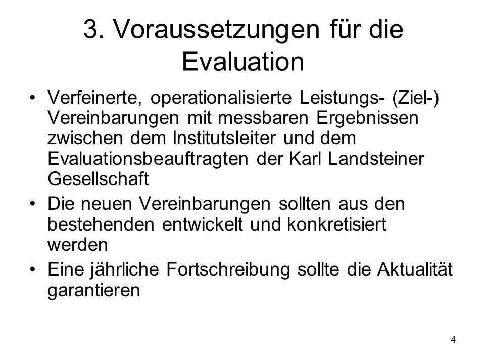 3. Voraussetzungen für die Evaluation