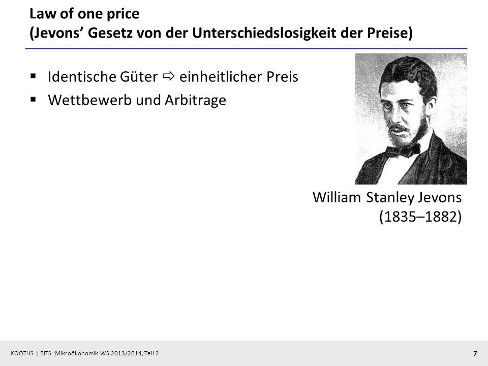 Law of one price (Jevons' Gesetz von der Unterschiedslosigkeit der Preise)