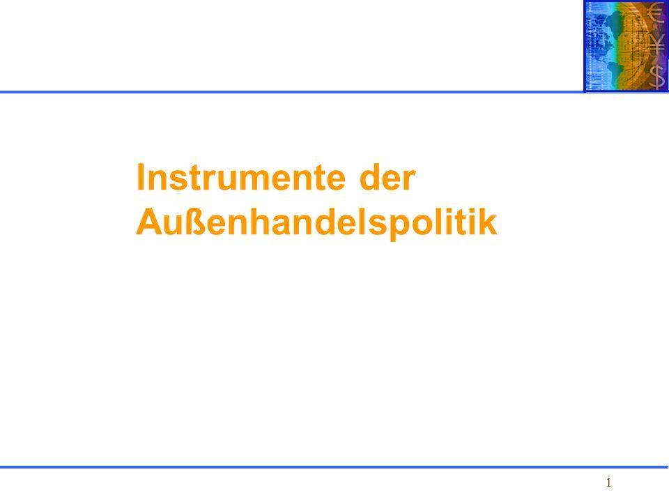 Kapitel 1 Einführung Instrumente der Außenhandelspolitik