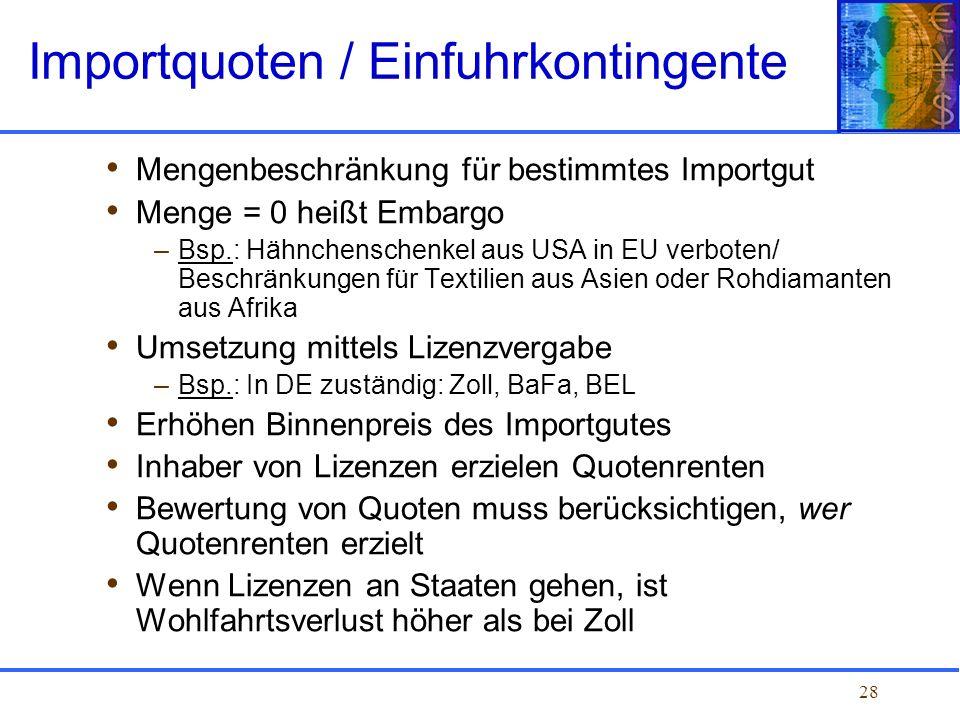Importquoten / Einfuhrkontingente