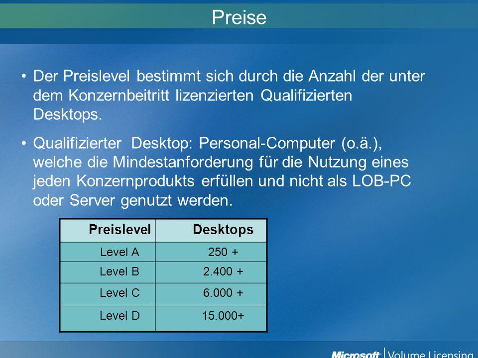 PreiseDer Preislevel bestimmt sich durch die Anzahl der unter dem Konzernbeitritt lizenzierten Qualifizierten Desktops.
