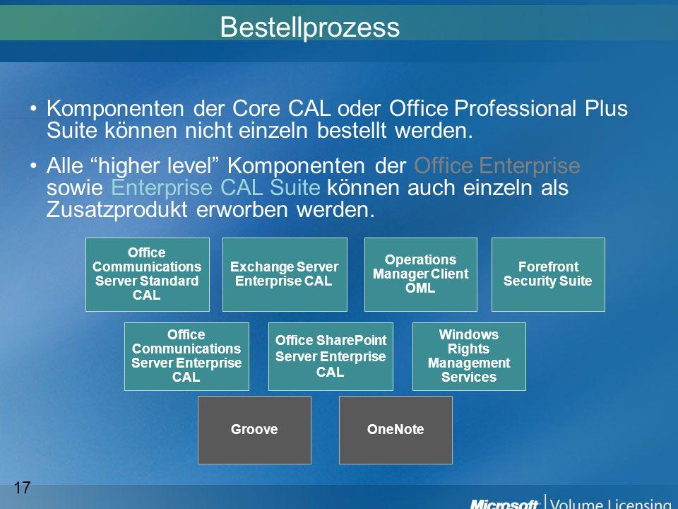 BestellprozessKomponenten der Core CAL oder Office Professional Plus Suite können nicht einzeln bestellt werden.