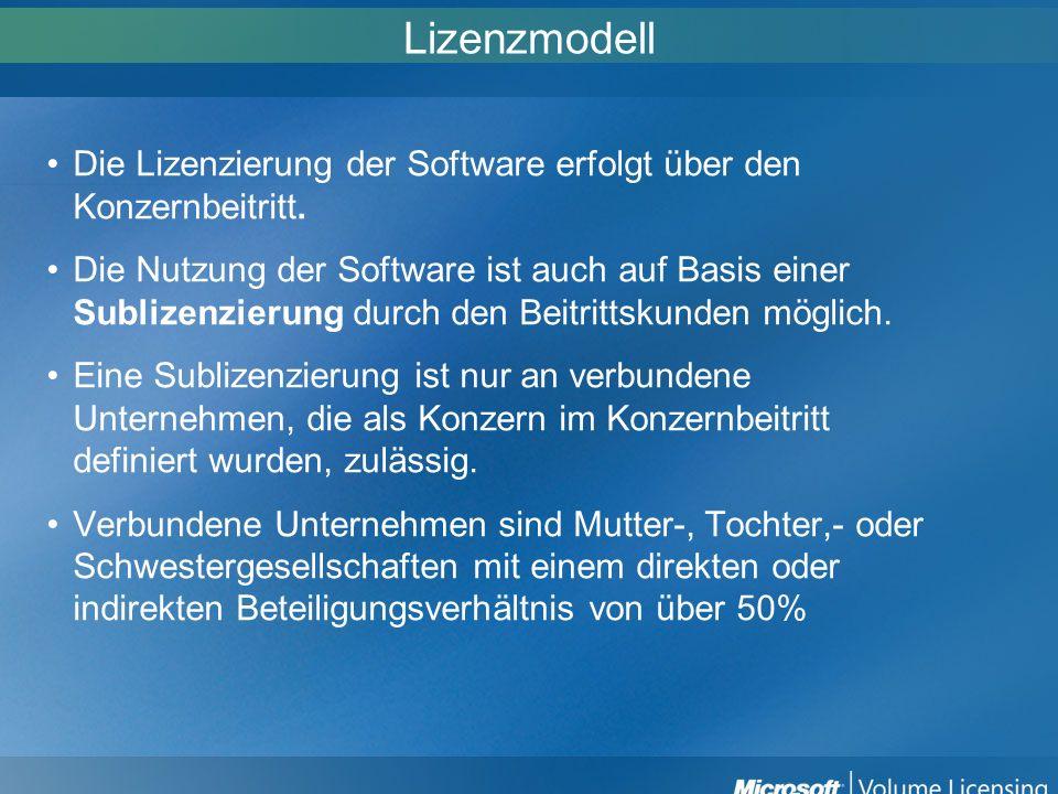 Lizenzmodell Die Lizenzierung der Software erfolgt über den Konzernbeitritt.