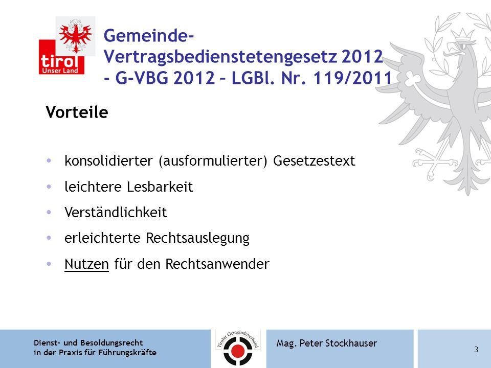 Gemeinde- Vertragsbedienstetengesetz 2012 - G-VBG 2012 – LGBl. Nr