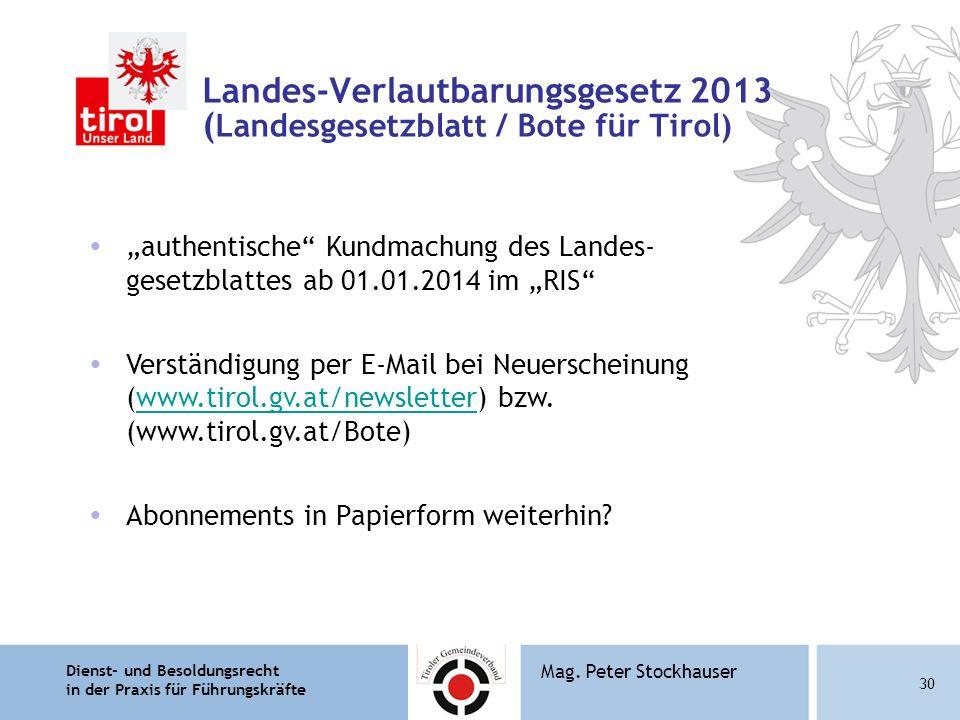 Landes-Verlautbarungsgesetz 2013 (Landesgesetzblatt / Bote für Tirol)
