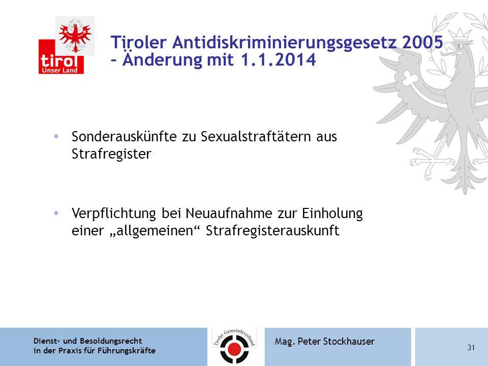 Tiroler Antidiskriminierungsgesetz 2005 – Änderung mit 1.1.2014