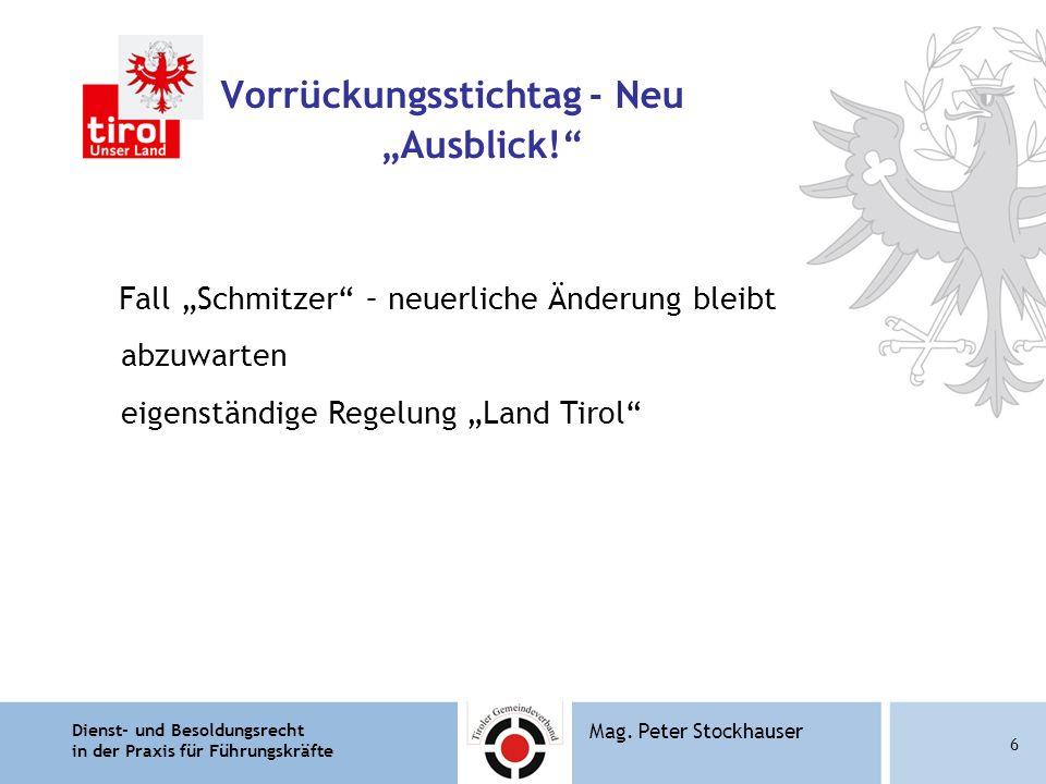 "Vorrückungsstichtag - Neu ""Ausblick!"