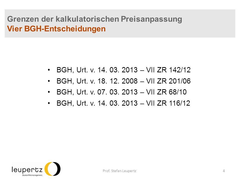 Grenzen der kalkulatorischen Preisanpassung Vier BGH-Entscheidungen