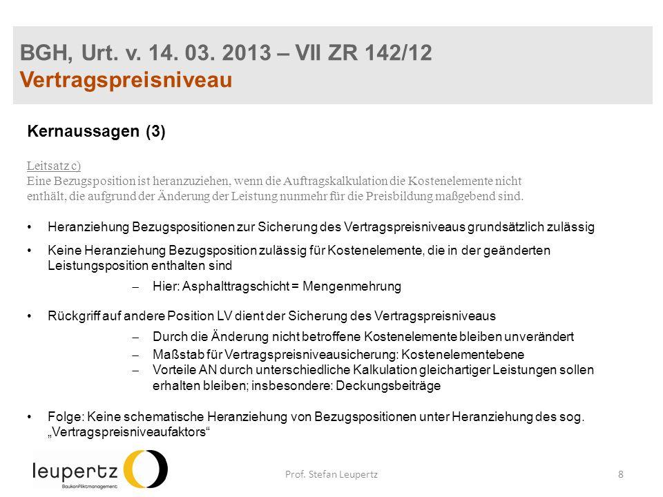 BGH, Urt. v. 14. 03. 2013 – VII ZR 142/12 Vertragspreisniveau