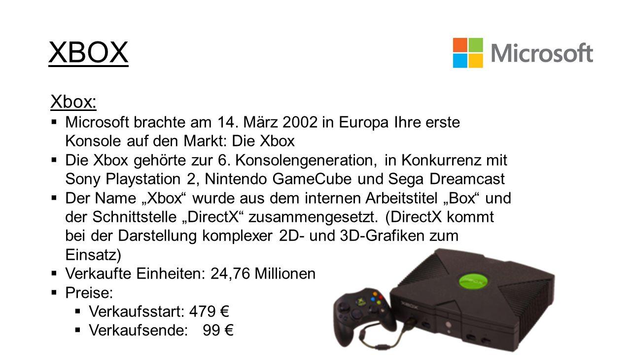 XBOXXbox: Microsoft brachte am 14. März 2002 in Europa Ihre erste Konsole auf den Markt: Die Xbox.