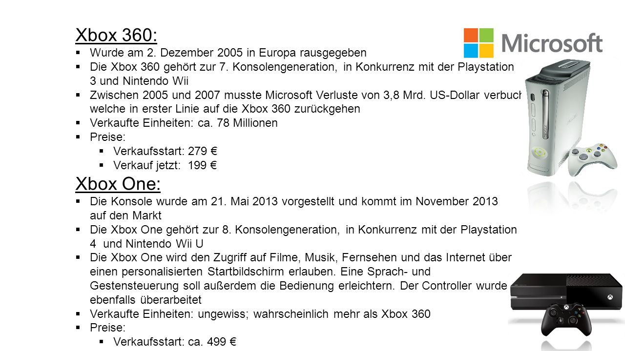 Xbox 360: Xbox One: Wurde am 2. Dezember 2005 in Europa rausgegeben