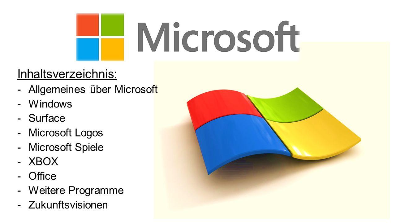 Inhaltsverzeichnis: Allgemeines über Microsoft Windows Surface