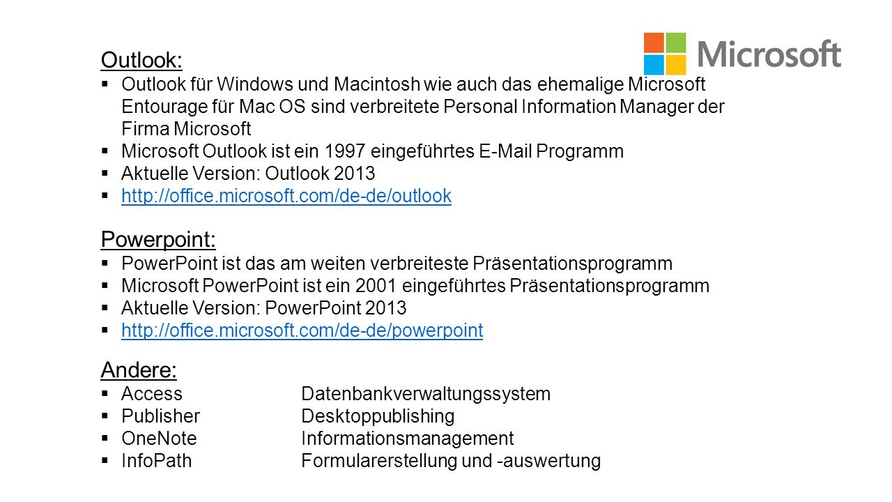 Outlook: Powerpoint: Andere: