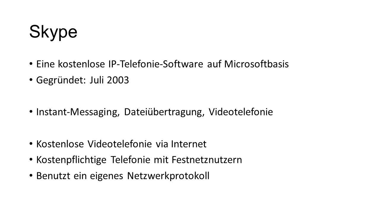 Skype Eine kostenlose IP-Telefonie-Software auf Microsoftbasis