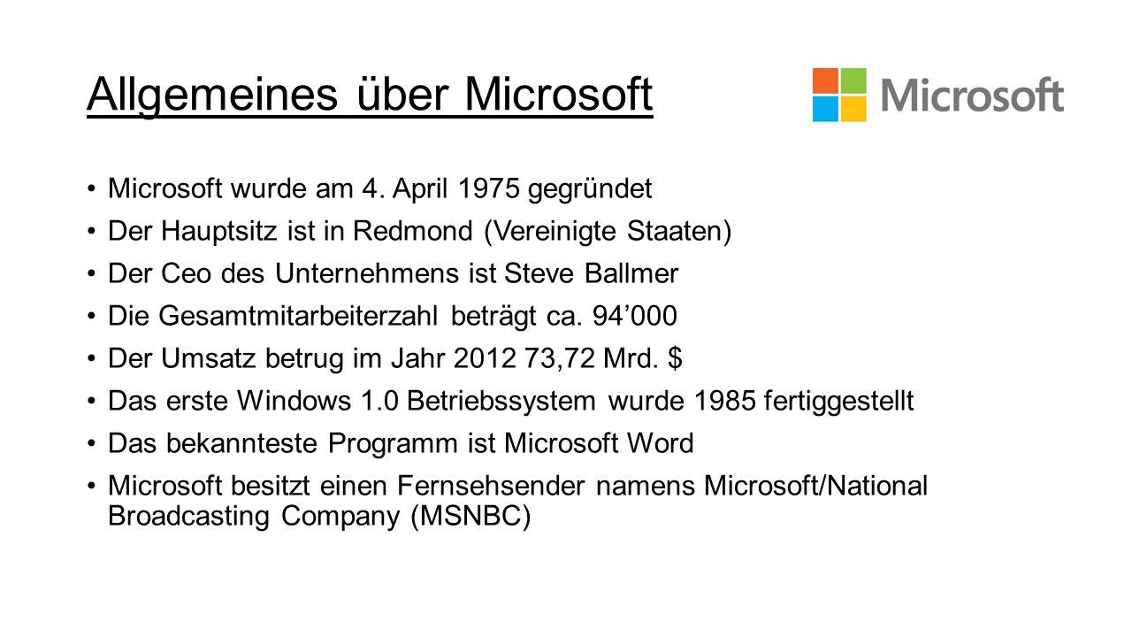 Allgemeines über Microsoft