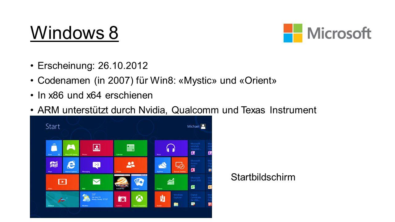 Windows 8Erscheinung: 26.10.2012. Codenamen (in 2007) für Win8: «Mystic» und «Orient» In x86 und x64 erschienen.