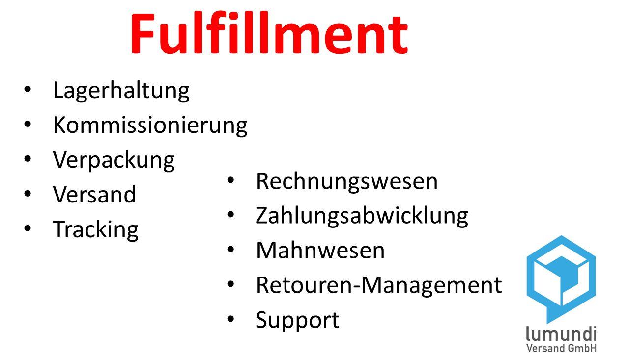 Fulfillment Lagerhaltung Kommissionierung Verpackung Versand Tracking