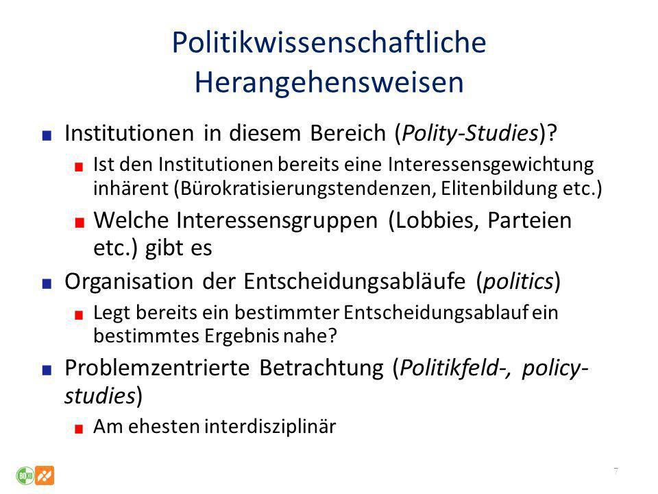 Politikwissenschaftliche Herangehensweisen