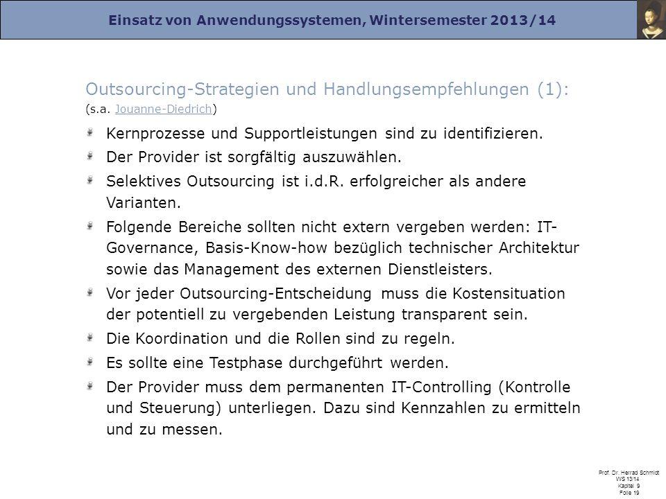 Outsourcing-Strategien und Handlungsempfehlungen (1): (s. a
