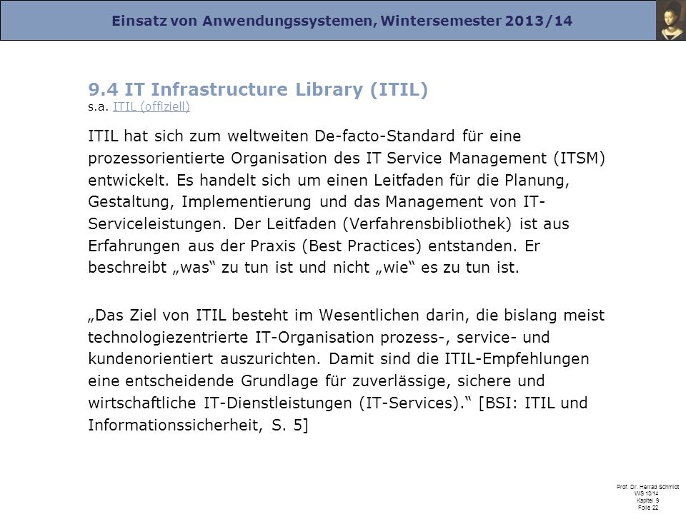 9.4 IT Infrastructure Library (ITIL) s.a. ITIL (offiziell)