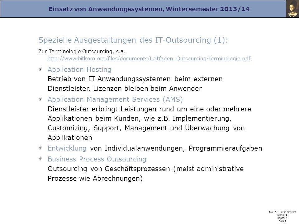 Spezielle Ausgestaltungen des IT-Outsourcing (1):