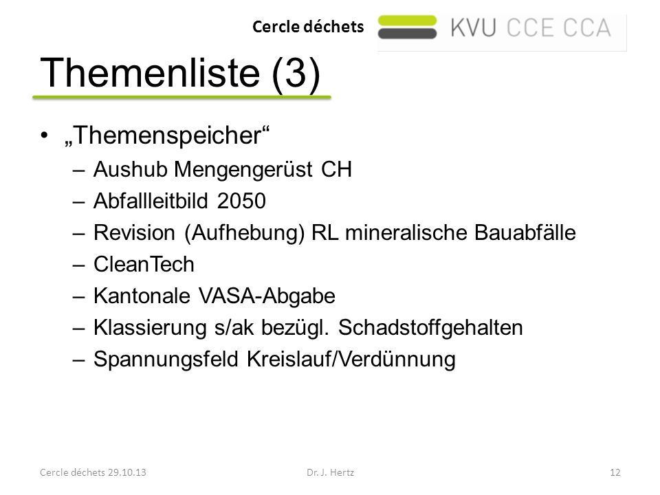"Themenliste (3) ""Themenspeicher Aushub Mengengerüst CH"