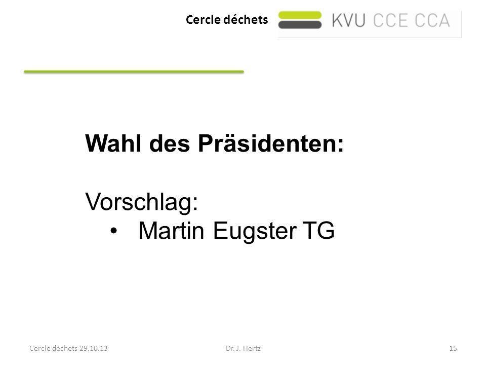 Wahl des Präsidenten: Vorschlag: Martin Eugster TG