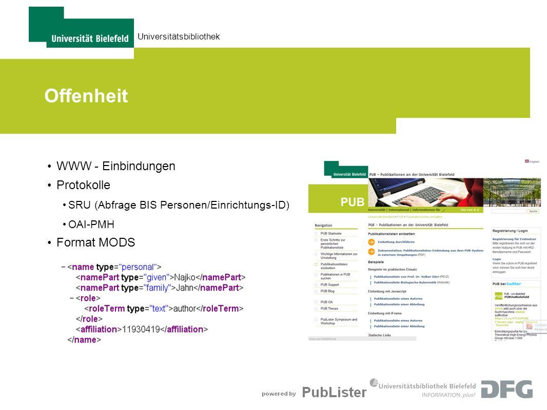 Offenheit WWW - Einbindungen Protokolle Format MODS