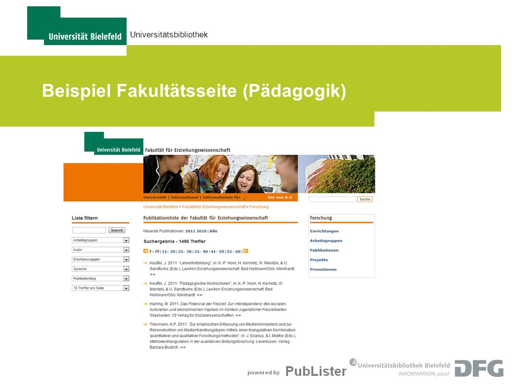 Beispiel Fakultätsseite (Pädagogik)