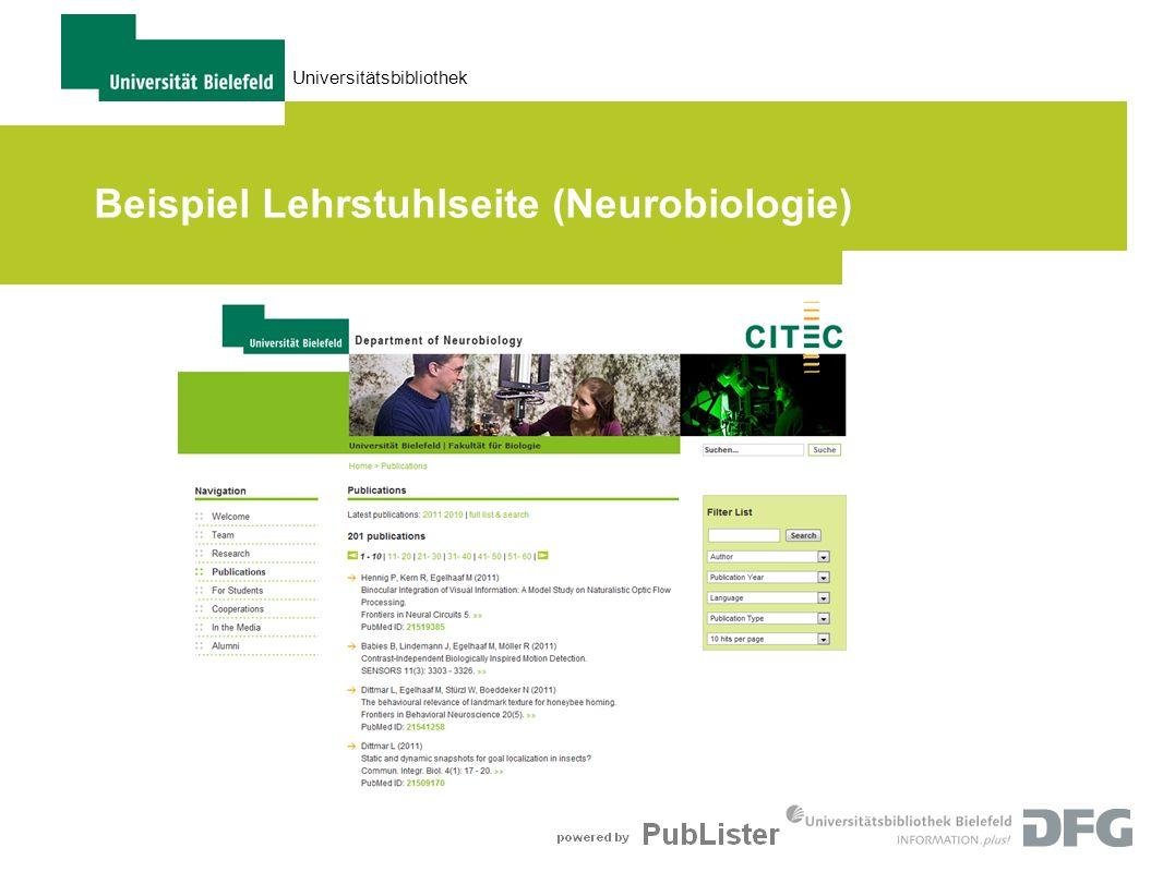 Beispiel Lehrstuhlseite (Neurobiologie)