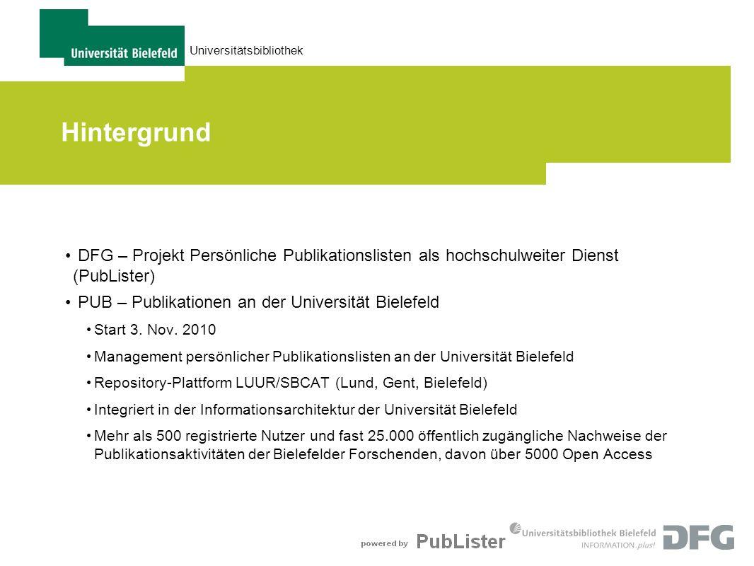 28.03.2017Hintergrund. DFG – Projekt Persönliche Publikationslisten als hochschulweiter Dienst (PubLister)