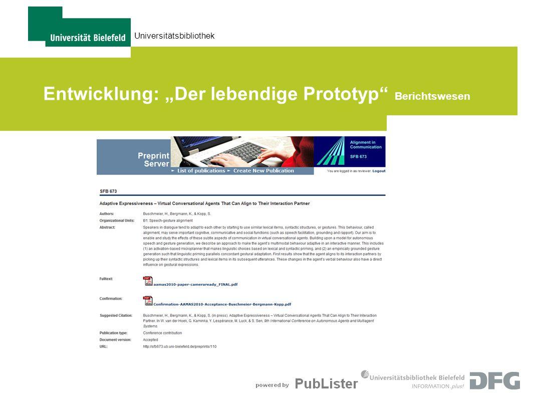 """Entwicklung: """"Der lebendige Prototyp Berichtswesen"""