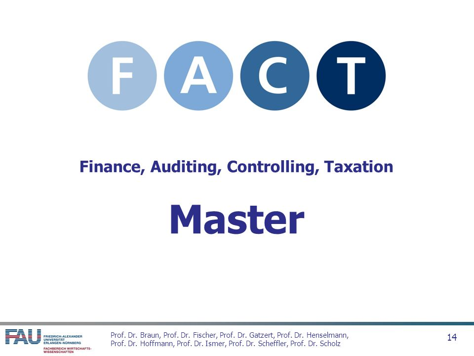 Finance, Auditing, Controlling, Taxation Master