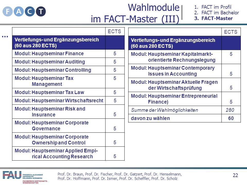 Wahlmodule im FACT-Master (III)