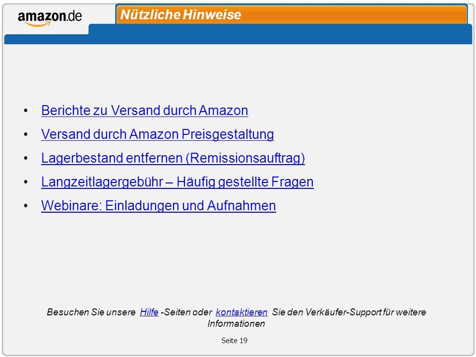 Berichte zu Versand durch Amazon Versand durch Amazon Preisgestaltung