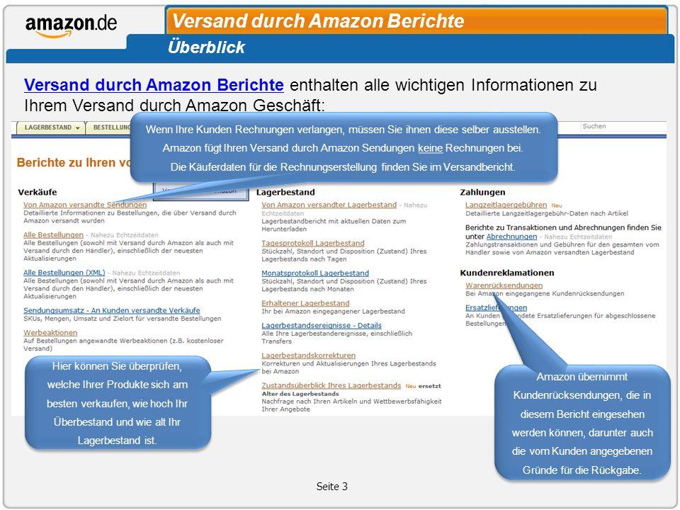 Versand durch Amazon Berichte