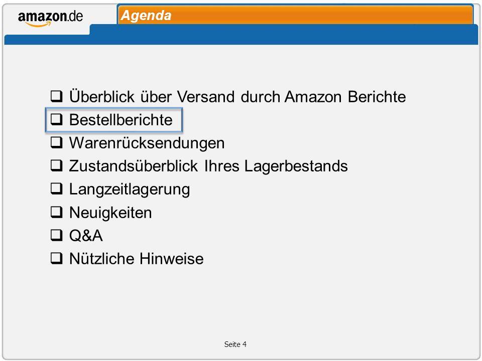 Überblick über Versand durch Amazon Berichte Bestellberichte