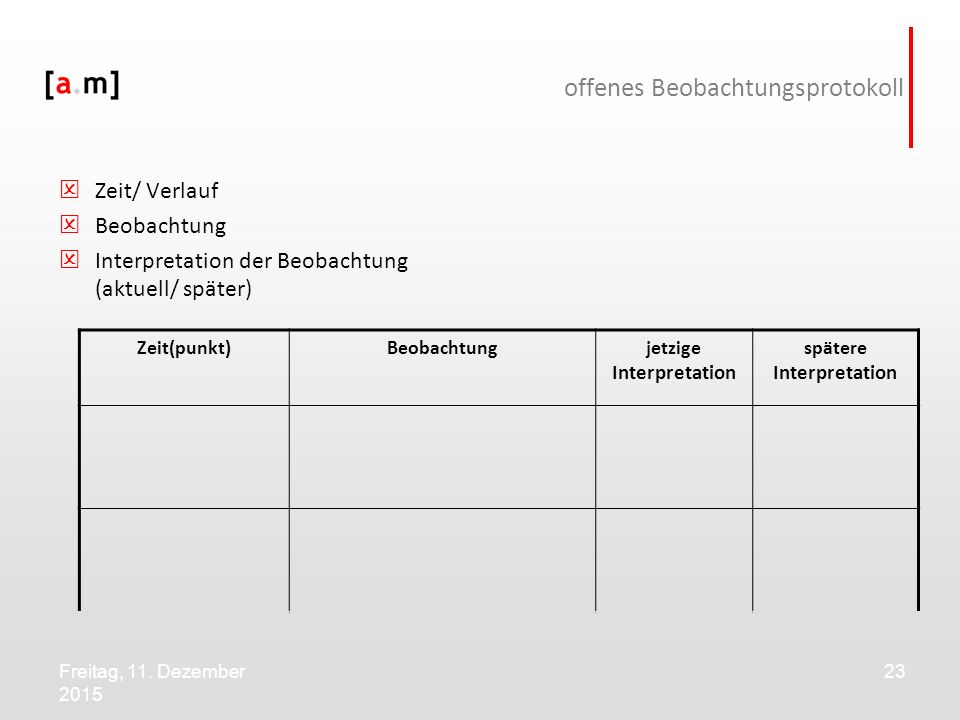 offenes Beobachtungsprotokoll