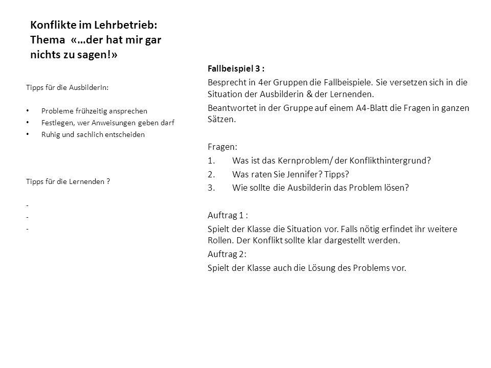 Konflikte im Lehrbetrieb: Thema «…der hat mir gar nichts zu sagen!»