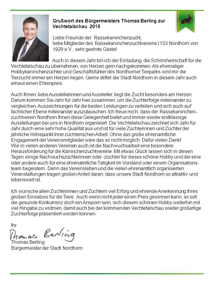Grußwort des Bürgermeisters Thomas Berling zur