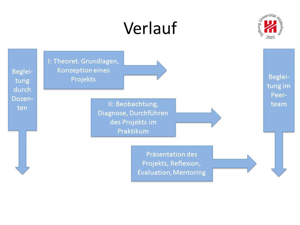 Verlauf I: Theoret. Grundlagen, Konzeption eines Projekts