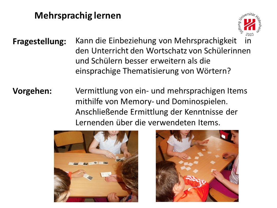 Mehrsprachig lernen Fragestellung: Vorgehen: