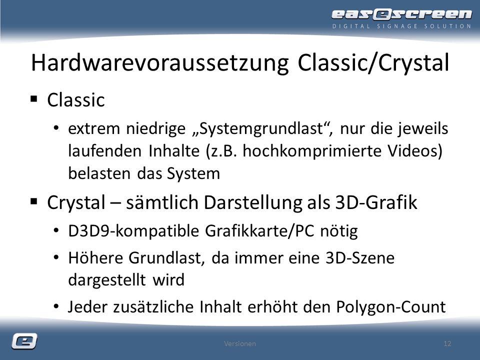 Hardwarevoraussetzung Classic/Crystal