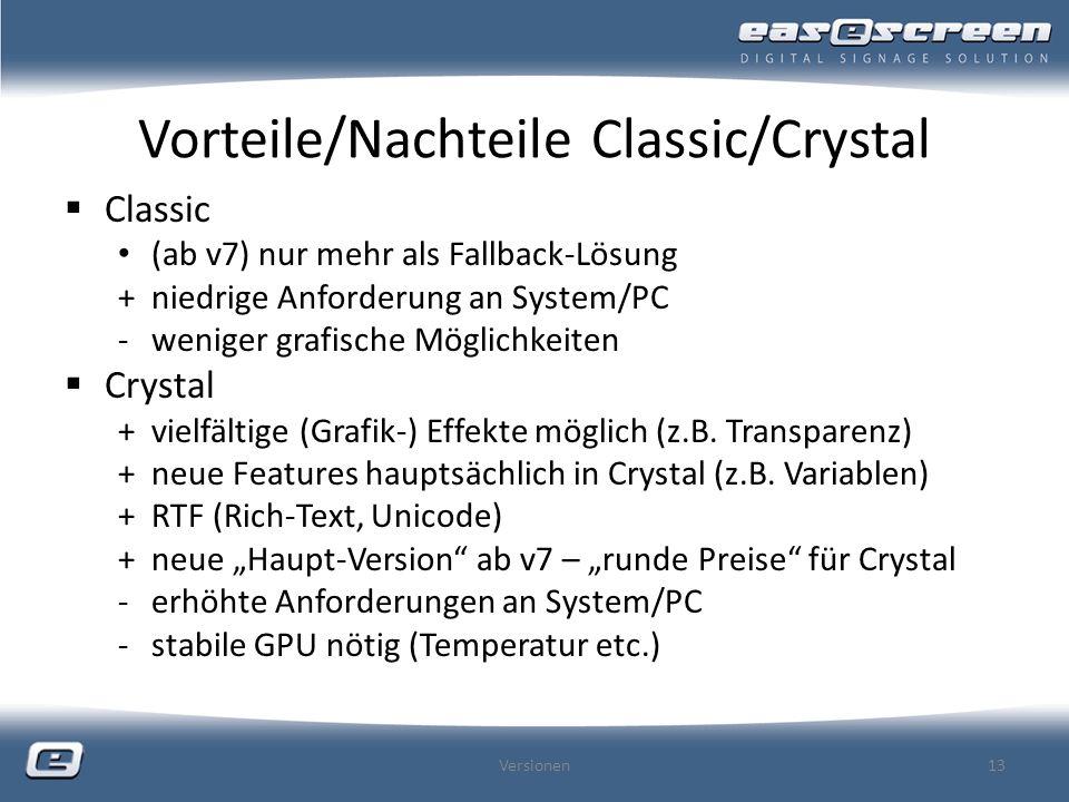 Vorteile/Nachteile Classic/Crystal