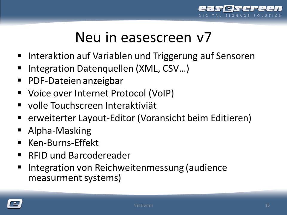 Neu in easescreen v7 Interaktion auf Variablen und Triggerung auf Sensoren. Integration Datenquellen (XML, CSV…)