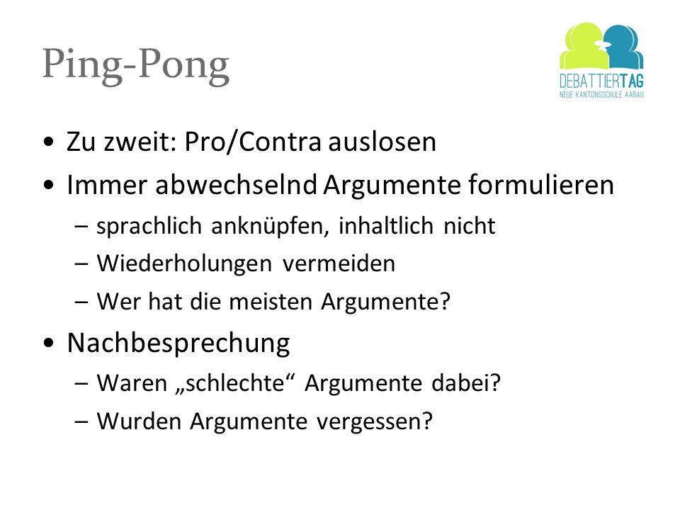 Ping-Pong Zu zweit: Pro/Contra auslosen