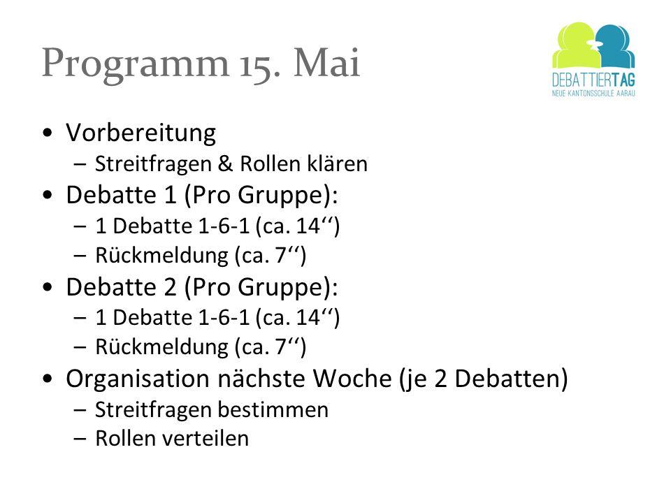 Programm 15. Mai Vorbereitung Debatte 1 (Pro Gruppe):