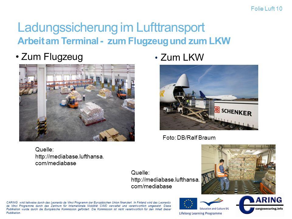 Folie Luft 10 Ladungssicherung im Lufttransport Arbeit am Terminal - zum Flugzeug und zum LKW. Zum Flugzeug.